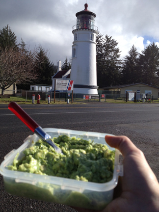 A few of my favourite things: lighthouses and homemade (garlic-free) guacamole. Heaven!