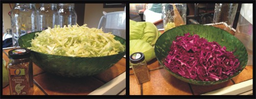 Heh. Even though this receipe is for red cabbage/beet kraut, most of the photos in this post will be of green cabbage. Just use your imagination and pretend that everything is a healthy shade of purple.